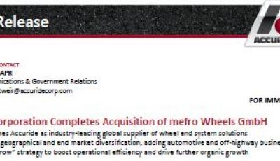 Accuride Corporation Completes Acquisition of mefro Wheels GmbH