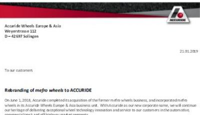 Rebranding of mefro wheels to ACCURIDE